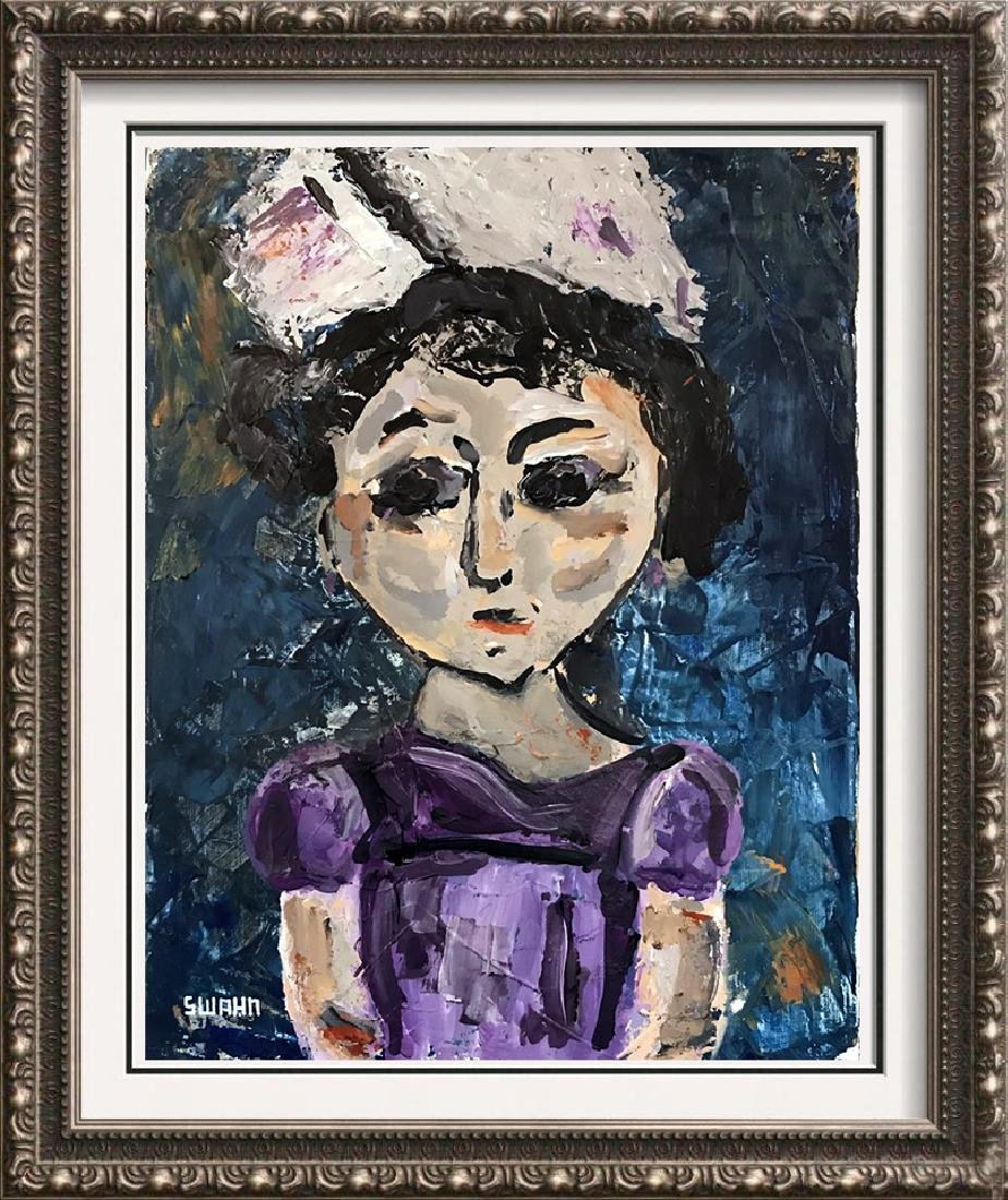 Violet Little Girl Painting on Canvas