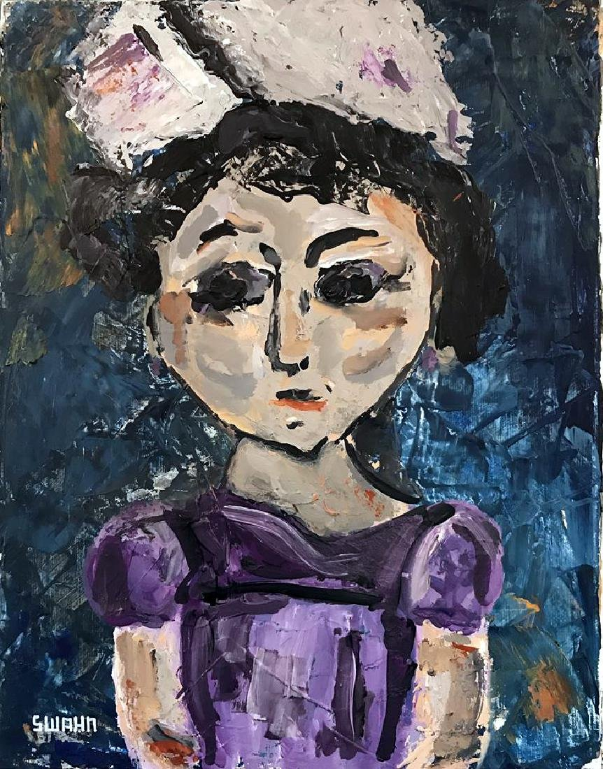 Violet Little Girl Painting on Canvas - 2
