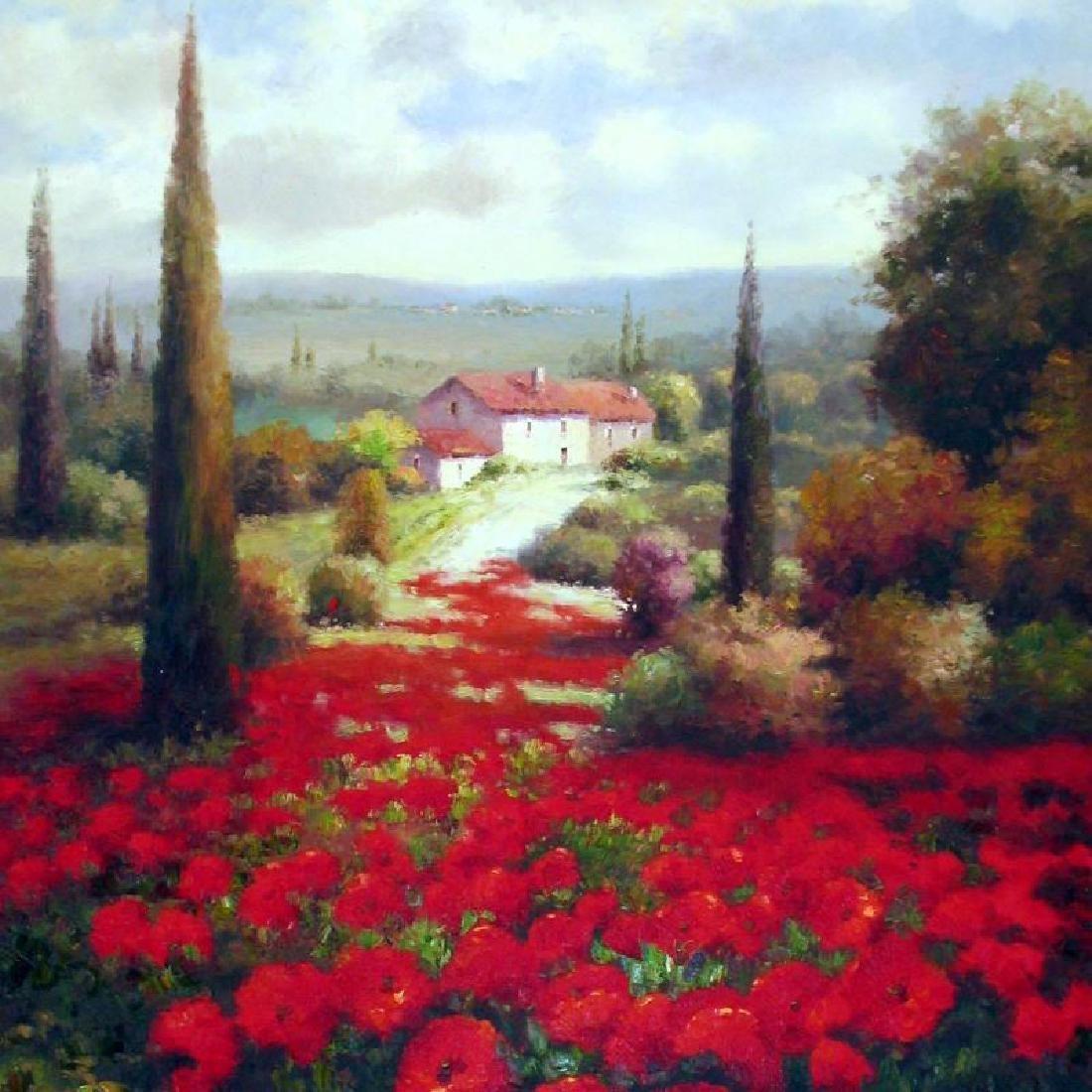 RED Poppy Field Textured HUGE ART Dealer Liquidation