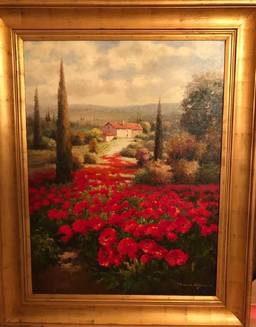RED Poppy Field Textured HUGE ART Dealer Liquidation - 2