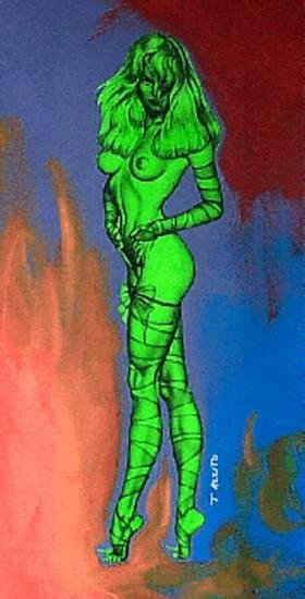 773A: Colorful Nude Pamela Anderson POP Art Original Pa