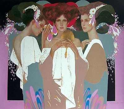 1001B: Art Deco Gold Mirror Felix Mas Ltd Ed ONLY $100