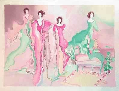 1045B: HUGE Signed Ltd Ed Bazinet Watercolor Style Art