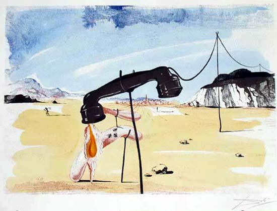 1F: Salvador Dali Famous Melting Telephone Signed Ltd E