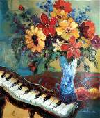 Colorful Figurative Modern Piano Painting Bold