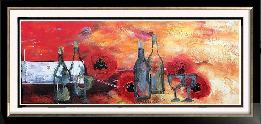 Wine Abstract Large Painting on Canvas Swahn Original