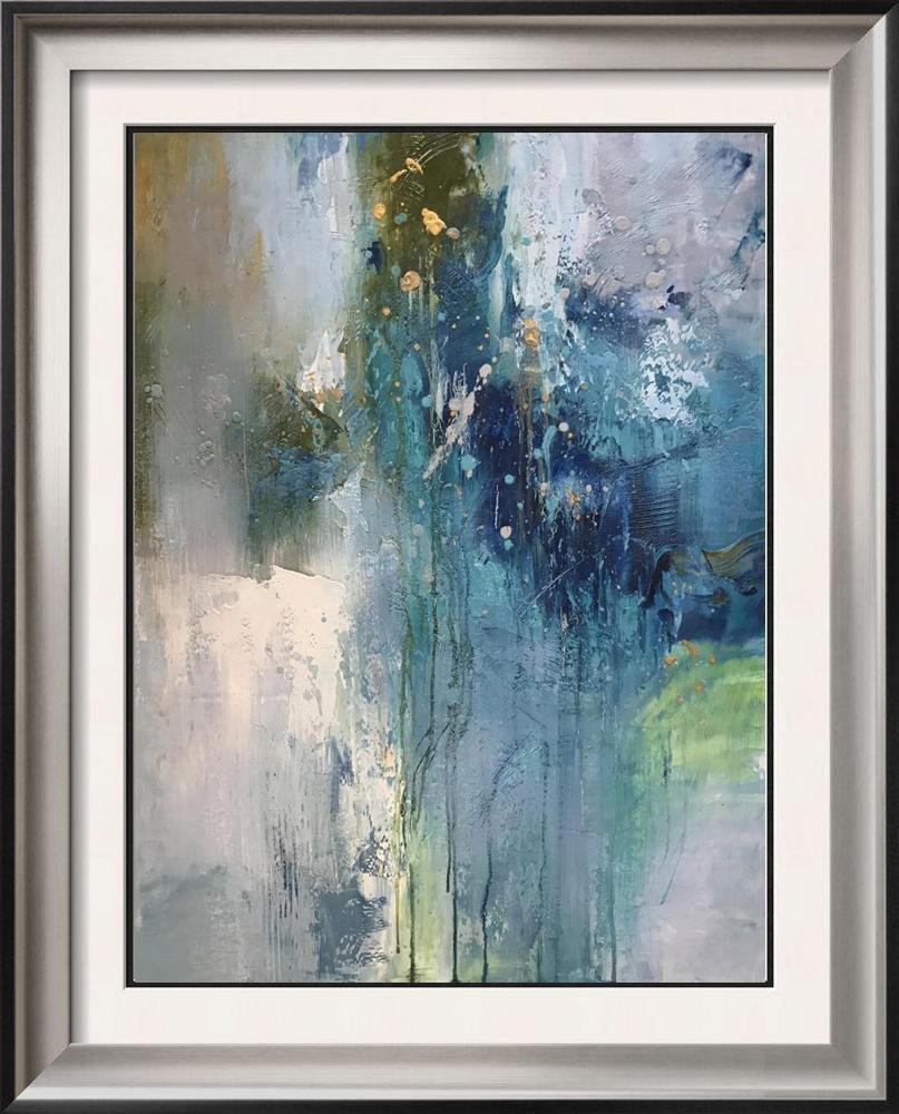 Splash Abstract Swahn Blue Original Signed Canvas