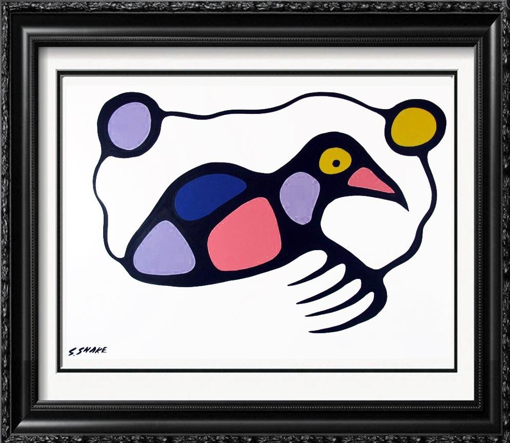 "Abstract Miro ""Style"" Bird Whimsical Original Painting"
