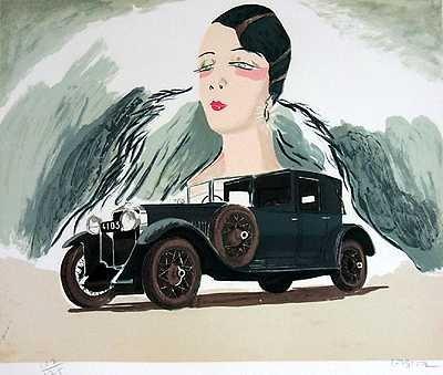 555A: Hispano Suiza Car Sale Signed Ltd Ed Art Liquidat