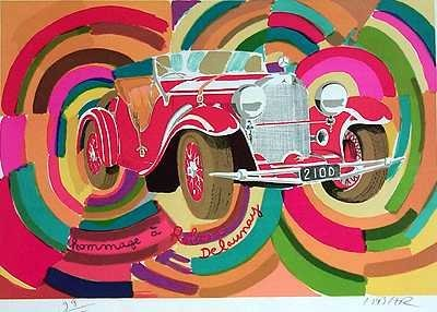 568B: Lithograph Mercedes Colorful 60's POP Style Art