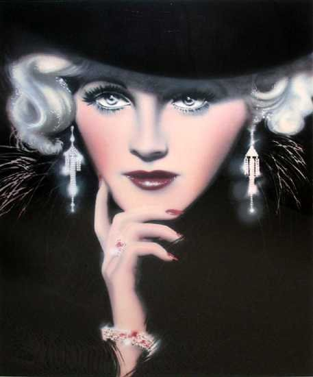 605B: Deco Lady Dramatic Pencil Signed Limited Edition