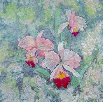 7369B: Orchids Watercolor Style Large Ltd Ed Huge Sale