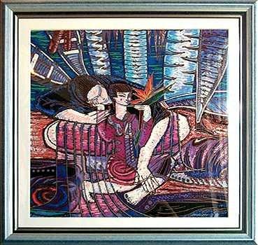 4312C: Wong Shue Yunnan Art Signed Ltd Ed Violet Colorf