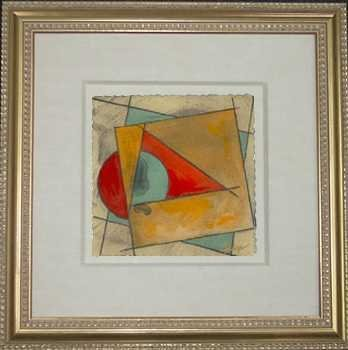 5642C: Abstract Framed ORIGINAL Painting on Paper Whole