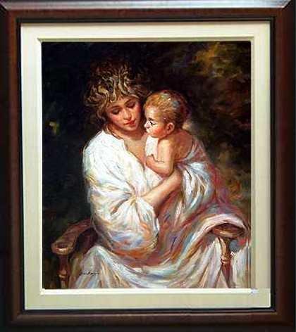 6750C: Mother & Child Framed ORIGINAL Art Great Gift to