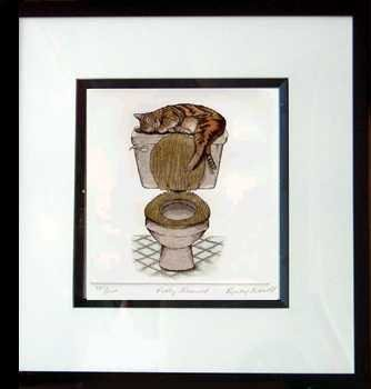 6960C: Cat Etching Custom Framed Potty Trained Hand Col