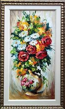 7474C: ORIGINAL Acrylic THICK Textured Floral Painting