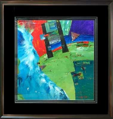 7884C: Abstract Custom Framed Painting on Paper