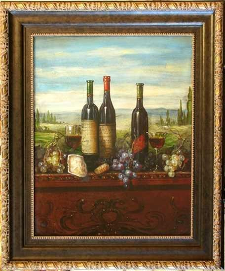 8881C: Old World Wine Scene Crackled Canvas