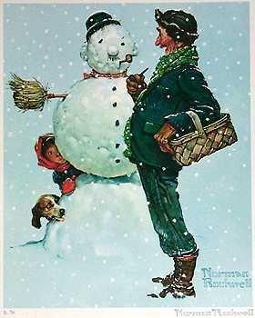 401091D: Snow Sculpting Norman Rockwell Snowman Art
