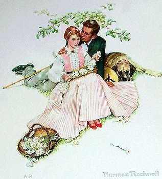 401110D: Lovers Norman Rockwell Lithograph Sale ONLY $5