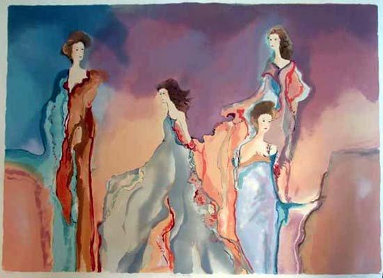 401269D: Bazinet Large Watercolor Maimon Style Art