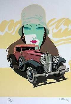 566E: Stutz Art Deco Colorful Limited Edition Signed Ar