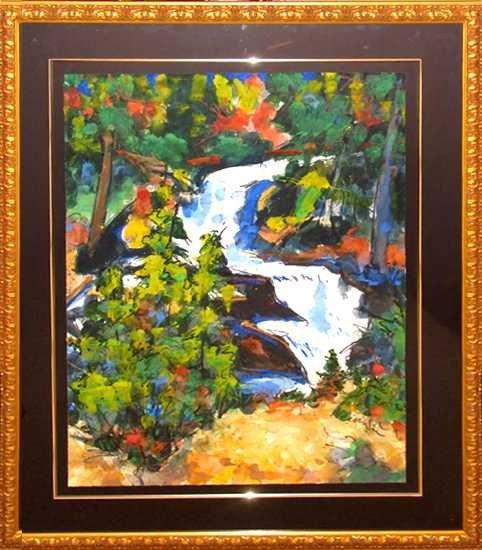 7885E: Waterfall Original Watercolor Custom Framed Sale