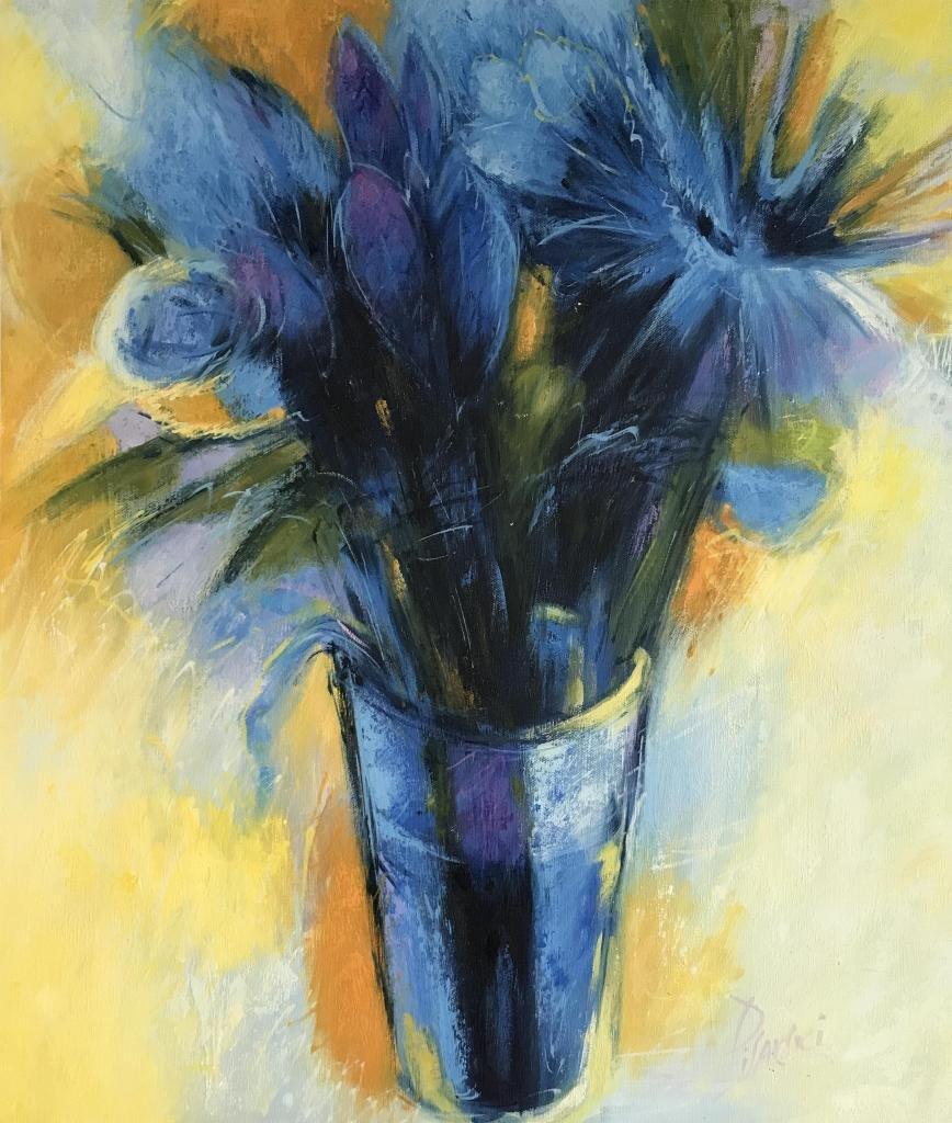 Blue Bold Floral Contemporary Art
