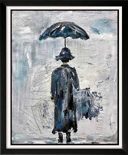 Abstract Modern Art Flow Blue Umbrella Janet Swahn