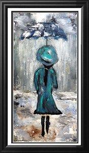 Unmbrella Girl in Teal Pop Original Painting