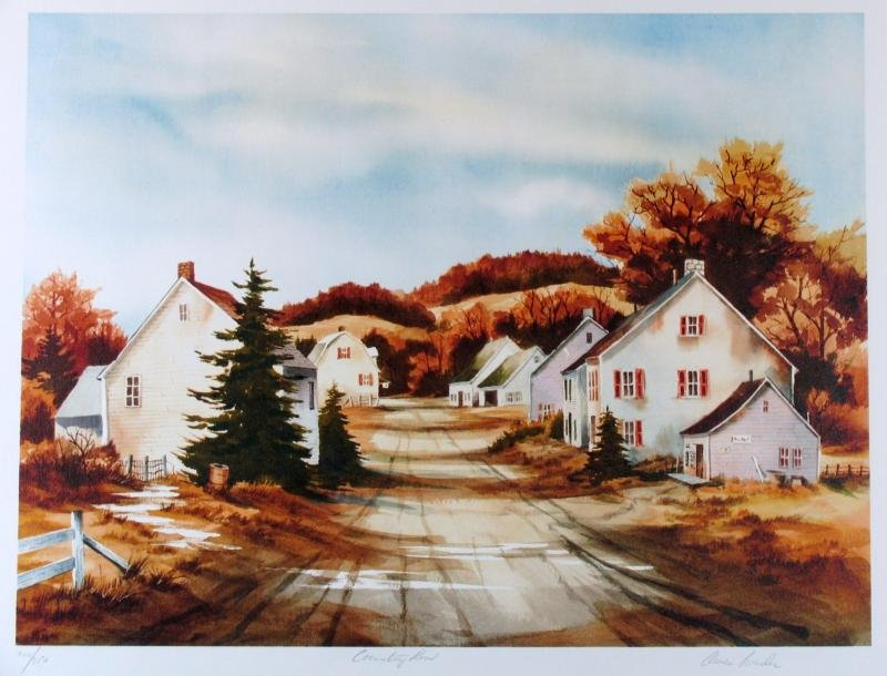 Country Road Beautiful Scene Watercolor Style Realism