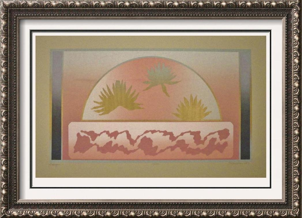 Asian Style Fan Art Signed Lithograph
