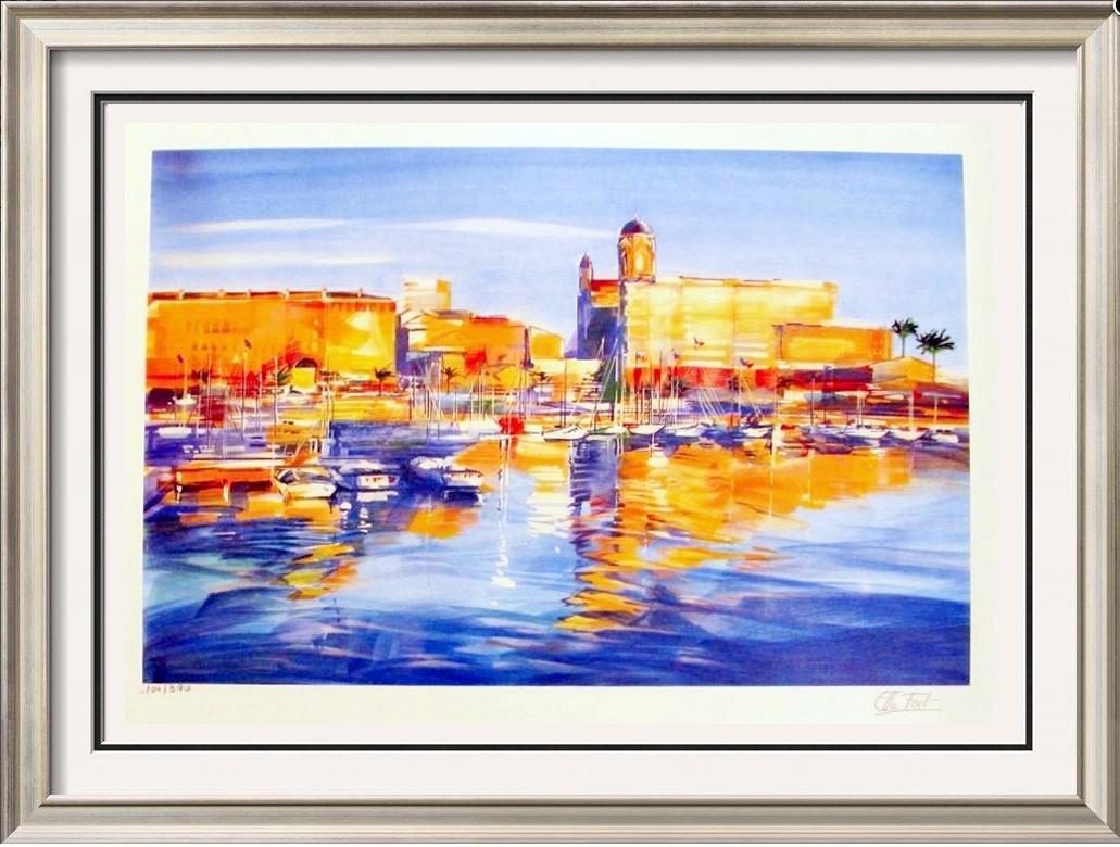 Harbor Scene Colorful Art Sale Below Wholesale