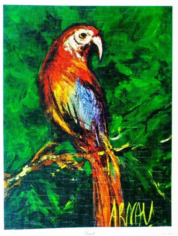 Parrott Lithograph Signed Colorful Art For Sale