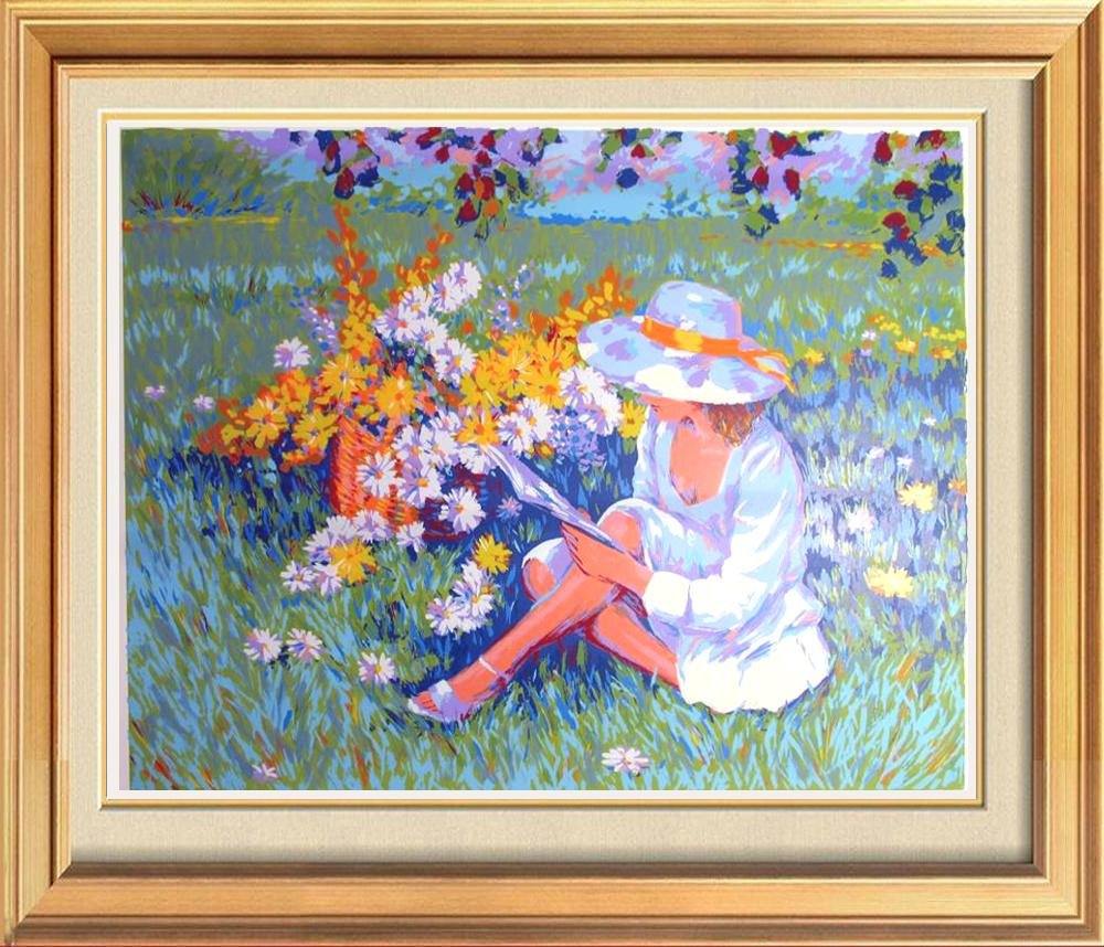 Floral Scene Limited Edition Girl In Sundress & Hat