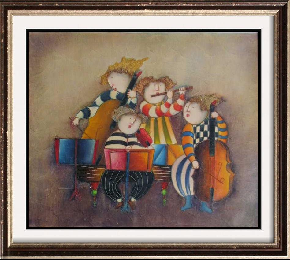 Abstract Figures Concert Signed Original Canvas