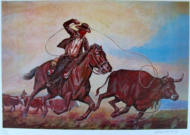 Horse Round Up Western Style Ltd Ed Litho Sale