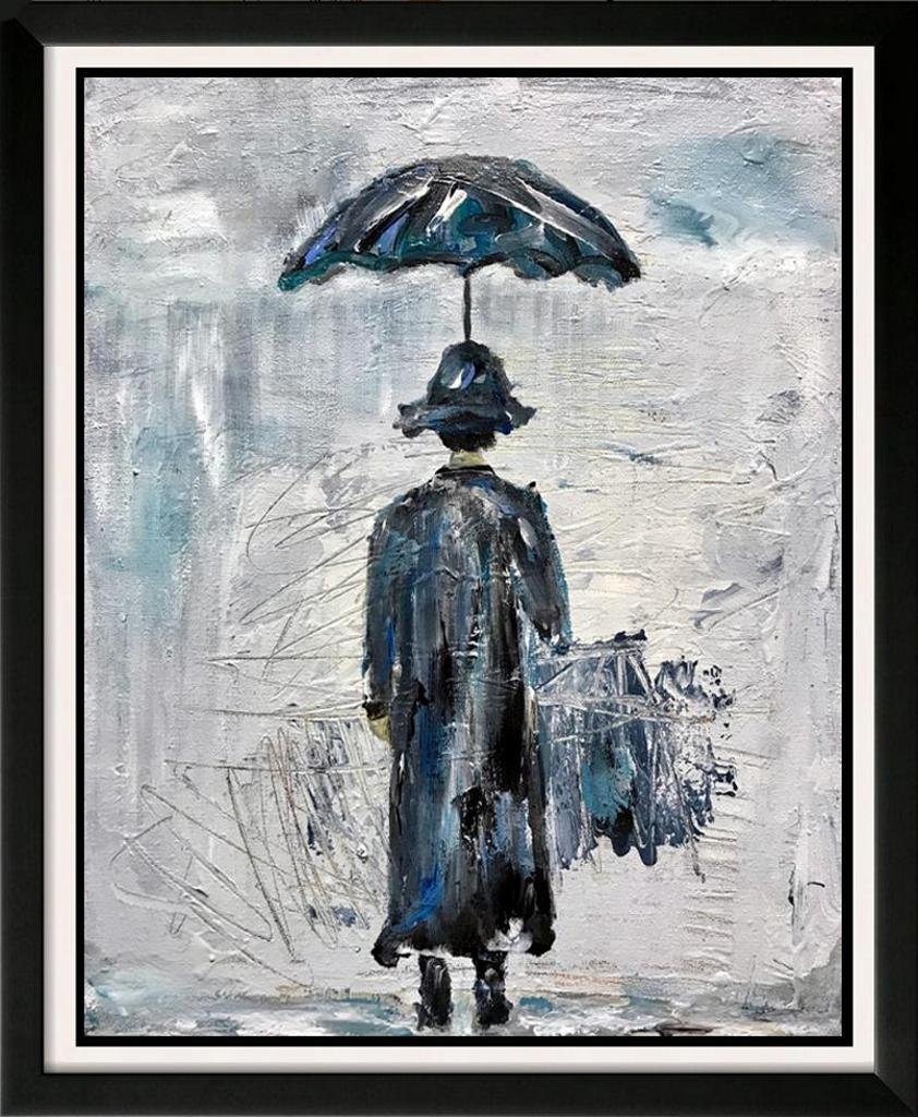 Abstract Modern Art Flow Blue Umbrella Janet Swahn