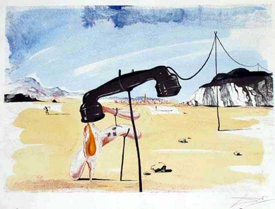 1: Salvador Dali Famous Melting Telephone Signed Ltd Ed