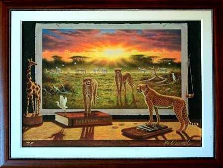 8064: Cheetah Ltd Ed LARGE Canvas Newell Realistic Surr