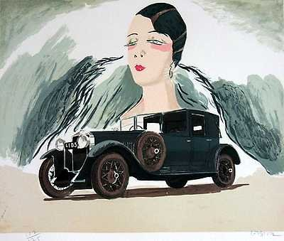 555B: Hispano Suiza Car Sale Signed Ltd Ed Art Liquidat