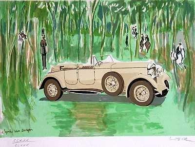570B: Lancaster Automobile Art Deco Ltd Ed Lithograph