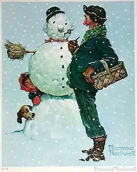 501091: SNOW SCULPTING NORMAN ROCKWELL SNOWMAN ART
