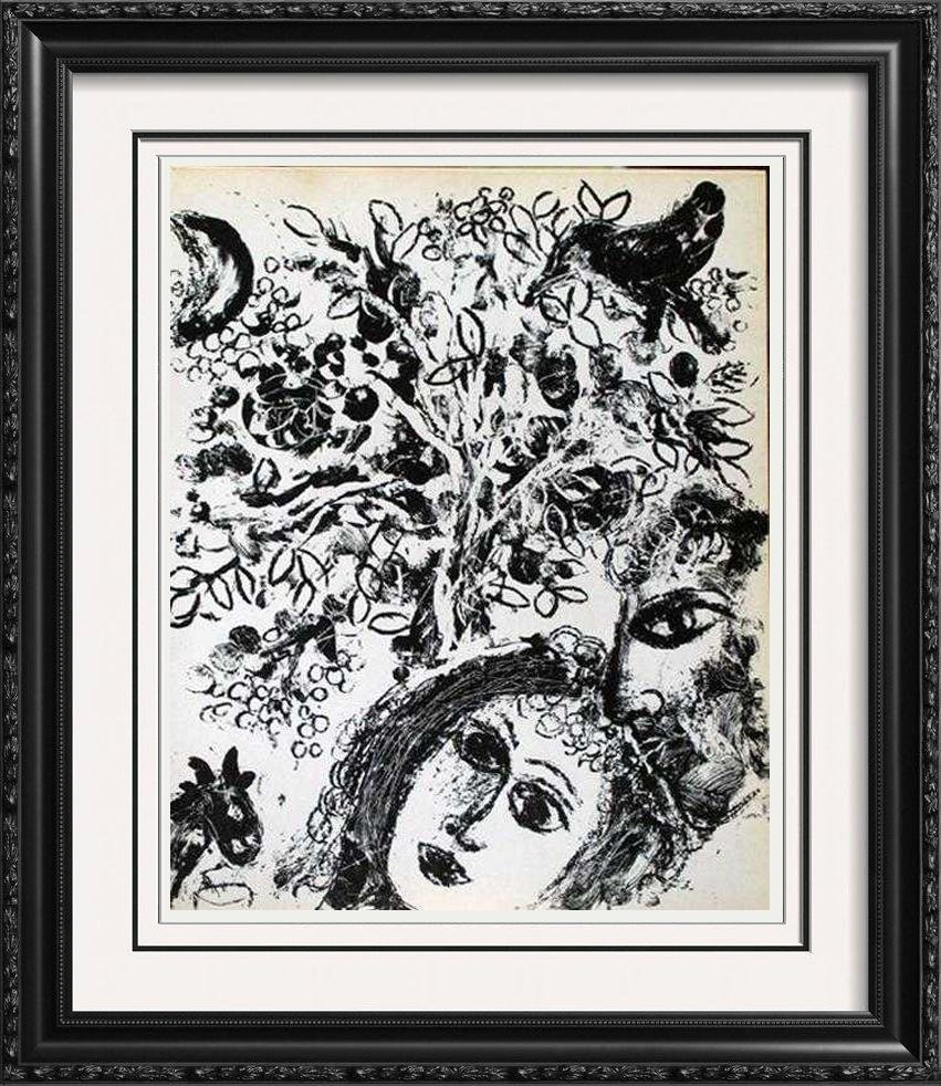 """Black & White Lithograph Marc Chagall """"After"""" Museum"""