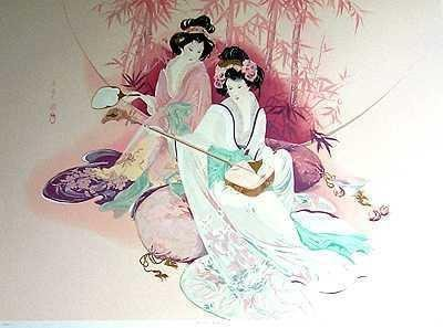 201088: AYERS ASIAN STYLE LARGE SERIGRAPH RARE FIND