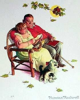 201104: LOVERS NORMAN ROCKWELL LITHOGRAPH SALE ONLY $50