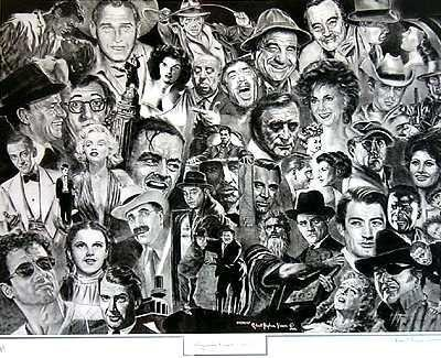 4010500: HOLLYWOOD STARS BLACK WHITE LITHOGRAPH SIGNED
