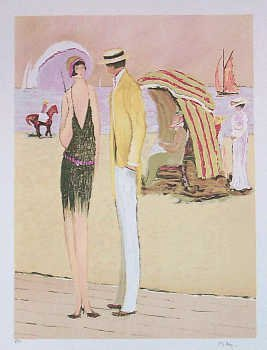 502162: 1920'S STYLE BEACH SCENE COLORFUL SIGNED LTD ED