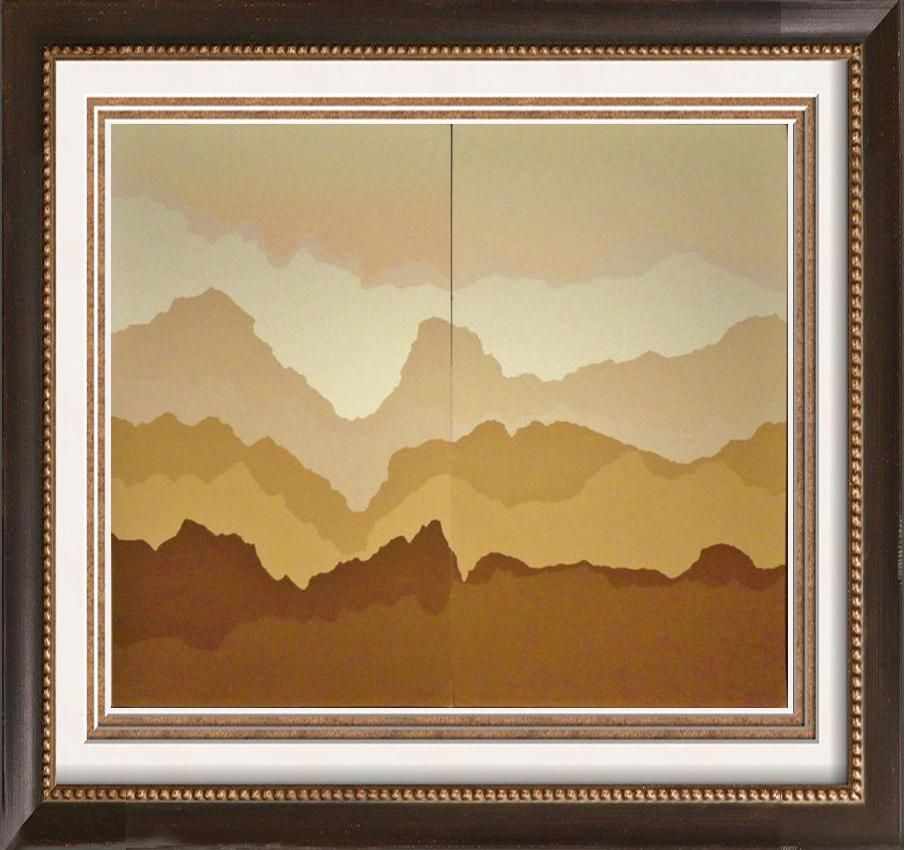 2 Piece Suite Abstract Geometric Mountains Modern Ltd